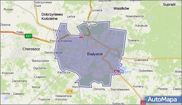 powiat Białystok - województwo podlaskie na mapie Targeo