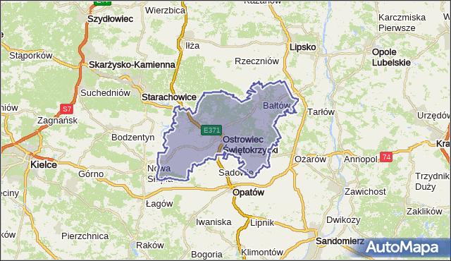 powiat ostrowiecki - województwo świętokrzyskie na mapie Targeo