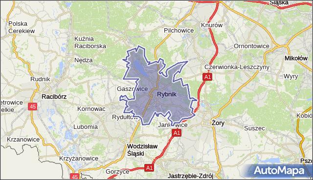 powiat Rybnik - województwo śląskie na mapie Targeo