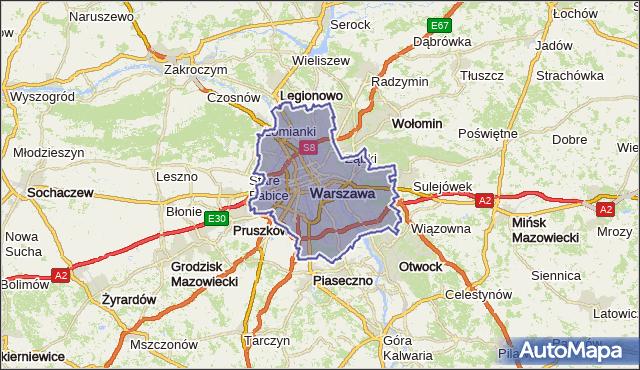 powiat Warszawa - województwo mazowieckie na mapie Targeo