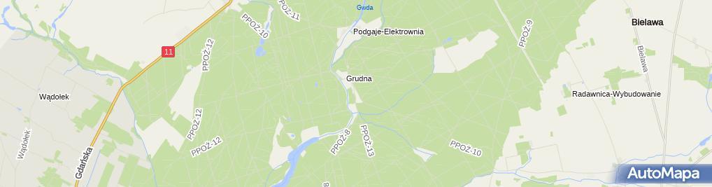 Zdjęcie satelitarne Grudna - całkowicie zniszczona miejscowość