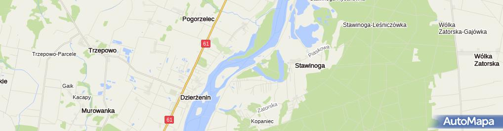 Zdjęcie satelitarne Dzierżenin - Narew - PZW Mazowieckie