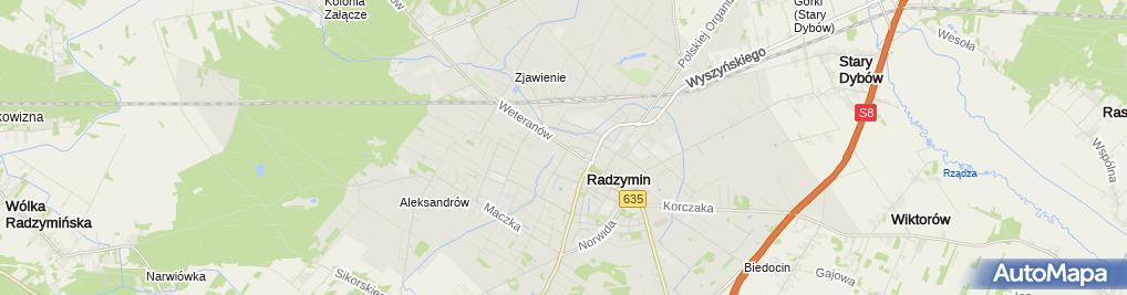Zdjęcie satelitarne Powiatowy Urząd Pracy w Wołominie Filia w Radzyminie