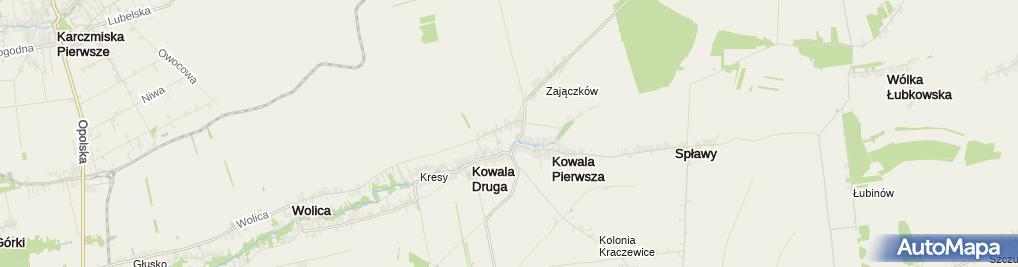 Zdjęcie satelitarne Kaplica dworska pw. NMP Królowej Świata w Kowali
