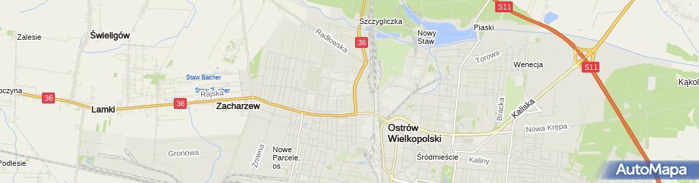 Zdjęcie satelitarne Zespół Szkół Technicznych w Ostrowie Wielkopolskim