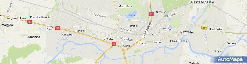 Zdjęcie satelitarne Konin-budynek dworca PKP