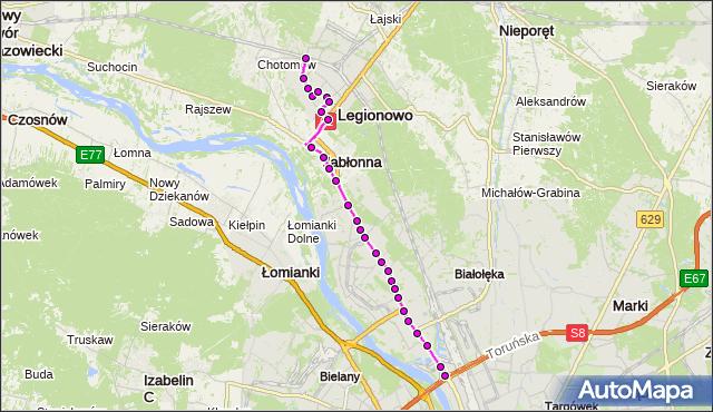 Autobus 723 - trasa PKP LEGIONOWO-PRZYSTANEK LG - ŻERAŃ FSO. ZTM Warszawa na mapie Targeo