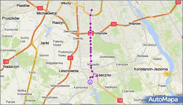 Rozkład jazdy autobusu 709 na przystanku PKP PIASECZNO 03. ZTM Warszawa na mapie Targeo