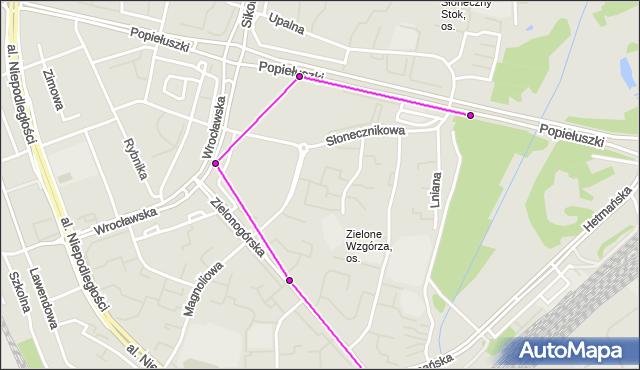 Autobus 21 - trasa ZIELONE - Zajezdnia; dojazd do przystanku:SŁONECZNIKOWA(346)(nr inw. 346). BKM na mapie Targeo