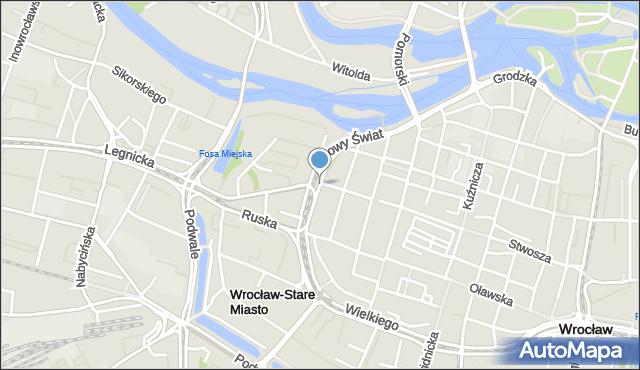 Wrocław, Białoskórnicza, mapa Wrocławia