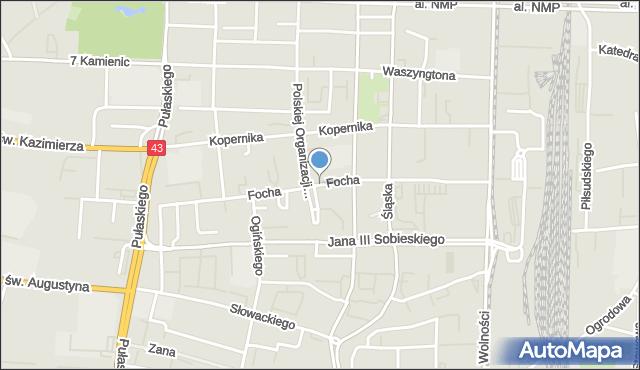 Częstochowa, Focha Ferdynanda, marsz., mapa Częstochowy