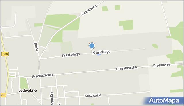 Jedwabne, Krasickiego, mapa Jedwabne