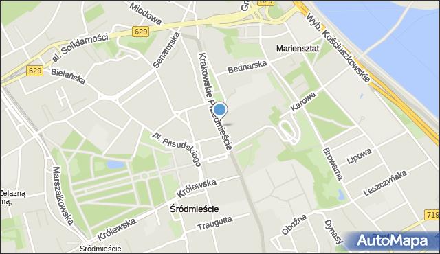Warszawa, Krakowskie Przedmieście, mapa Warszawy