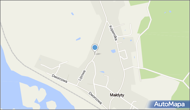 Małdyty, Lipowa, mapa Małdyty