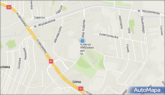 Rzeszów, Ofiar Katynia, mapa Rzeszów