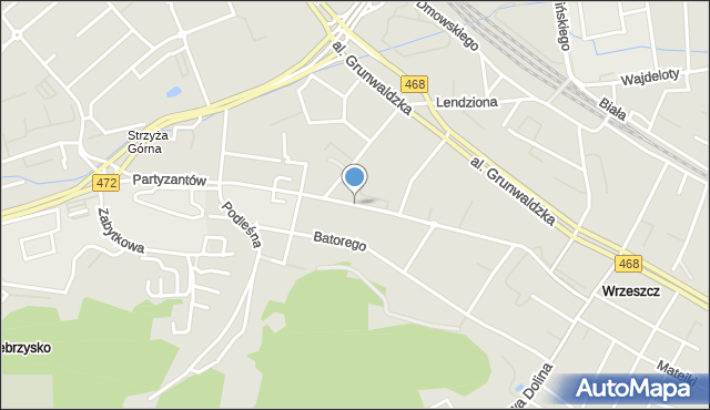 Gdańsk, Partyzantów, mapa Gdańska