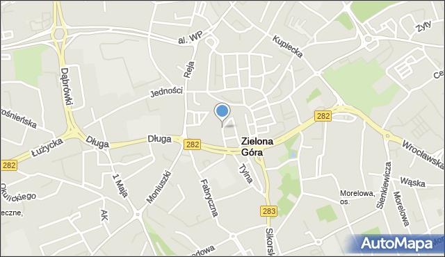 Zielona Góra, Plac Słowiański, mapa Zielona Góra