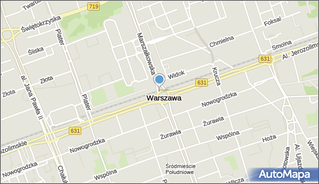Warszawa, Rondo Dmowskiego Romana, mapa Warszawy