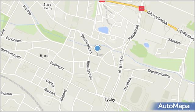 Tychy, Sienkiewicza Henryka, mapa Tychów