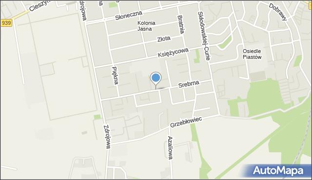 Pszczyna, Srebrna, mapa Pszczyny