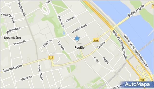 Warszawa, Topiel, mapa Warszawy