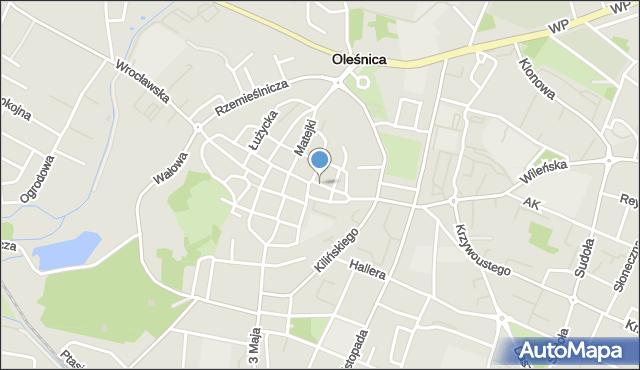 Oleśnica, Traugutta Romualda, gen., mapa Oleśnica