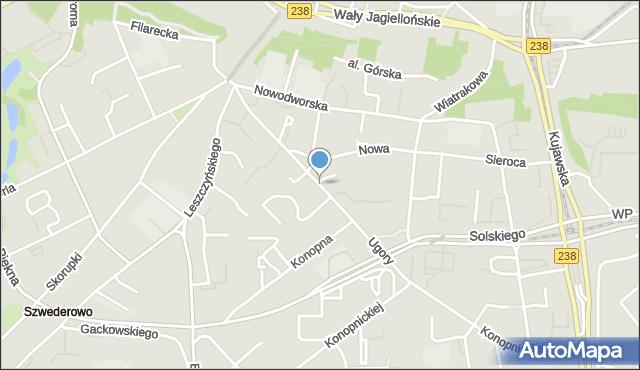 Bydgoszcz, Ugory, mapa Bydgoszczy