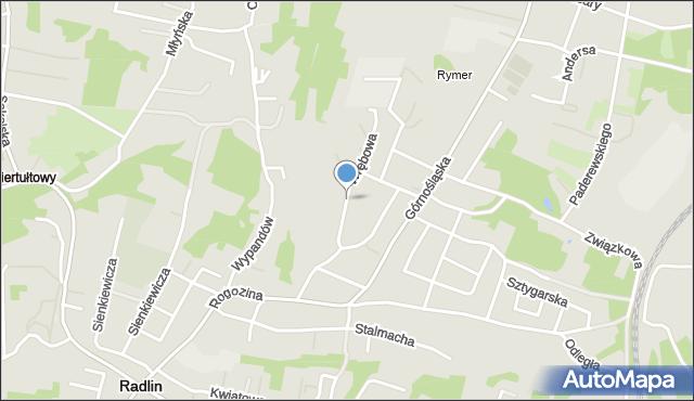 Rybnik, Wrębowa, mapa Rybnika